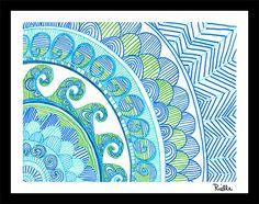 "Greeting Art Card w/envelope, ""Sea Corner,"" by Rielle 5 1/2"" x 4 1/4"" on Etsy, $4.99"