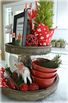 I got myself a new toy a little while ago in the form of a wooden tiered tray that I'd had my eye on for awhile. Holiday Games, Holiday Crafts, Holiday Decor, Holiday Ideas, Canada Christmas, Canada Holiday, Summer Centerpieces, Centerpiece Decorations, Canada Day Centrepiece