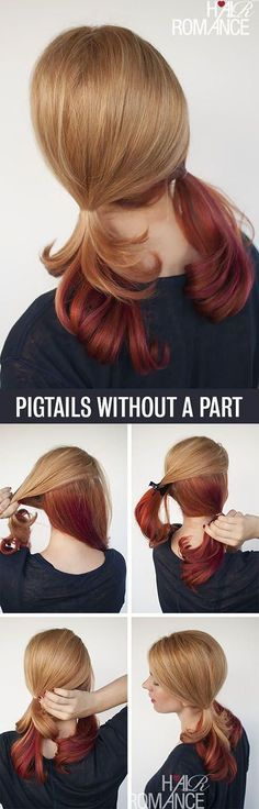 Summer hair: Hair tutorial for pigtails without a part Little Girl Hairstyles, Pretty Hairstyles, Easy Hairstyles, Pigtail Hairstyles, Black Hairstyle, Pigtail Braids, Short Hairstyle, Girls Hairdos, Side Braids