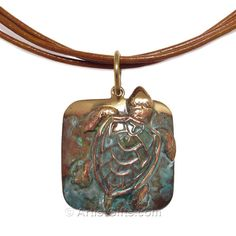 Sea Turtle Necklace, handcrafted in the USA! Beautiful patina on brass, dimensional sea turtle pendant on triple strand leather cord necklace. One of our many sea turtle necklace styles with Free Shipping Everyday!