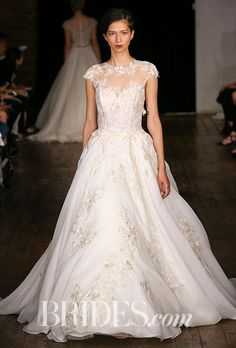 """Brides.com: . """"Evermore,"""" Satin organza princess ballgown with hand appliques 3-D embroidered flowers by Alyne by Rita Vinieris"""