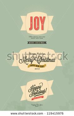 3 Vintage styled label for Merry Christmas and Happy New Year - with grunge background - stock vector