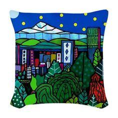 Portland Skyline Art Pillow - Throw Pillow - Oregon City Modern Abstract Folk Art by Artist Heather Galler