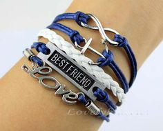 Navy infinity anchor bracelet love best friend by lovelybracelet, $5.99