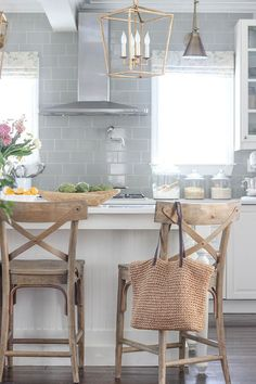 Kitchen Lighting Ideas Cross Back Barstool. The cross back barstools are from World Market. Cross Back Barstool Ideas. White Oak Cross Back Barstool Rustic Kitchen Design, Home Decor Kitchen, Interior Design Kitchen, Home Kitchens, Kitchen Furniture, Plywood Furniture, Kitchen Designs, New Kitchen Cabinets, Kitchen Stools