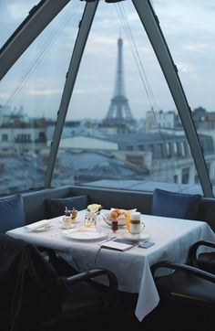The early-morning view from Table 17 at L'Oiseau Blanc, in Paris.