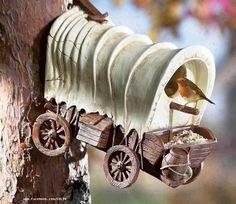 western garden- covered wagon birdhouse