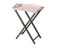 Mesa / bandeja de madera de paulonia Cindy - rosa y marrón