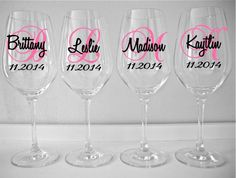 Personalized Wine Glass Decal Monogram With Name And Date