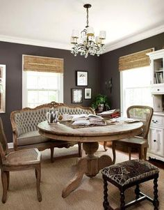 Love this charcoal eggplant color for the dining room Charcoal walls, rustic table and vintage seating Dining Nook, Round Dining Table, Dining Room Design, Tall Table, Settee Dining, Dining Chairs, Round Tables, Kitchen Dining, Kitchen Nook