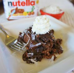Slow Cooker Coconut-Nutella® Pudding Cake from 365 Days of Slow Cooking [via Slow Cooker from Scratch]