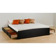 Prepac Sonoma King Platform Storage Bed, Black