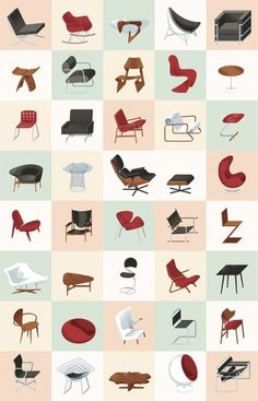 Modern Furniture Mid-Century Poster – Graphic Design, Illustration inspiration on MONOmoda