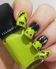 Halloween Nail Art Bride of Frankenstein