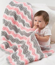 Like the varied shades of the pink and gray, but would do in yellow and gray with white instead. Baby Girl Chevron Blanket