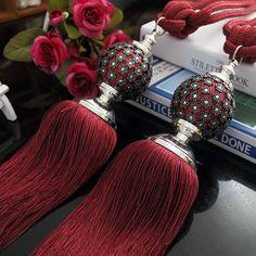 Vison Couleur Perles De Luxe Tassel Designer Rideau Embrasses