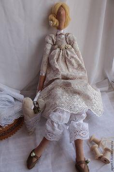 Клеменс - бежевый,желтый цвет,тильда кукла,хлопок,лен,лаванда ♡