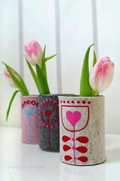 Konservendosen-Upcycling: Blumenvasen oder Stiftebecher mit JinnyJou-Blumen von @Andrea / FICTILIS Mueller Jolijou