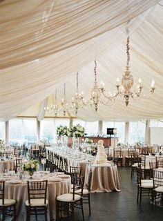 Tented Elegant Champagne Wedding Reception Ideas