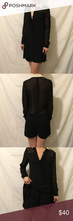 Zara Black Sheer Skirt/Shorts Dress Zara shorts with a skirt overtop in the front for the faux dress look. Super cute and is lined on bottom. White collar and is a size small. Worn only a few times!! Zara Dresses Midi