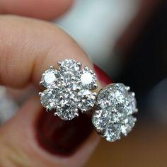 Cluster Diamond Stud Earrings.