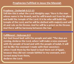 Prophecies fulfilled in Jesus the Messiah: Prophecy: Zechariah 6:12-13 Fulfillment: Hebrews 8:8-9