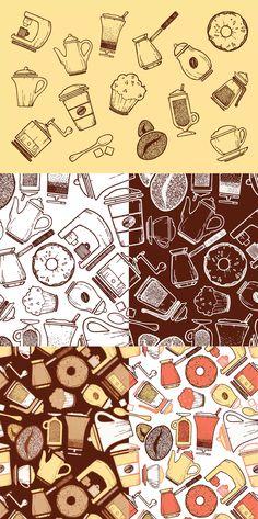 Coffee Icons & Pattern AI, EPS