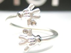 DISNEY MICKEY MOUSE HANDS STERLING SILVER PLATINUM CLAD RING