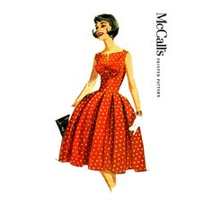 1960s McCalls 5845 Instant Party Dress Pattern Bust 32 Fit and Flare Box Pleat Skirt Rockabilly Dress Uncut Womens Vintage Sewing Patterns by CynicalGirl on Etsy