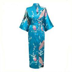Blue Plus Size XXXL Chinese Women Silk Satin Robe Japanese Geisha Yukata Kimono Bathrobe Sexy Sleepwear Flower Nightgown A-029