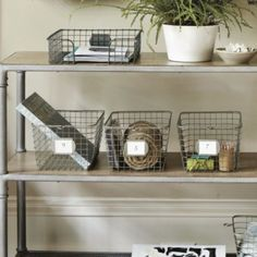 I love wire storage baskets!  These remind me of the locker room at the public pool I went to when I was a kid! P.E. Collection Gym Baskets | Home Accessories | Ballard Designs