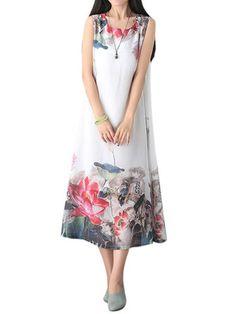 Vintage Women Chinese Painting Printed Sleeveless Chiffon Linen Dress