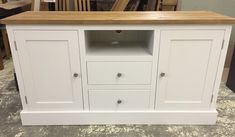 TV unit painted in ivory with a pine top. CAN BE ANY SIZE OR COLOUR!
