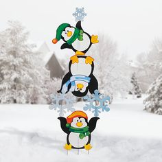 Penguin Yard Décor Set, Yard Stakes, Outdoor - Terry's Village Holiday Decor