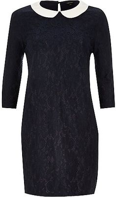River Island Womens Navy lace contrast collar shift dress #style #dress