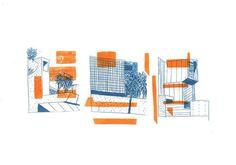 risograph architecture illustration - Google Search