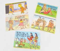 WWII Cartoon Postcards, 5 Used Linen Finish Postcards, Army Theme Humor with Girls by ShellyisVintage on Etsy