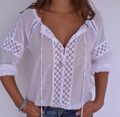 Women's Summer Fashion, Boho Fashion, Beautiful Outfits, Cool Outfits, Plus Size Clothing Online, White Lace Blouse, Couture Tops, Casual Sweaters, Stylus