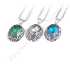 """Find More Pendants Information about Free Shipping 3PCS Mix Color Fashion Jewelry Crystal Retro Tibetan Silver Oval Pendant Necklace 30"""" Chain For Woman Sweater Gift,High Quality chain cake,China chain dictionary Suppliers, Cheap necklace retro from Wholesale jewelry from sterling silver jewelry factory on Aliexpress.com"""