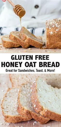 Best Gluten Free Bread, Gluten Free Oats, Gluten Free Desserts, Dairy Free Recipes, Healthy Gluten Free Bread Recipe, Gluten Free Breads, Glutenfree Bread Recipe, Gluten Free Homemade Bread, Healthy Sandwich Bread Recipe