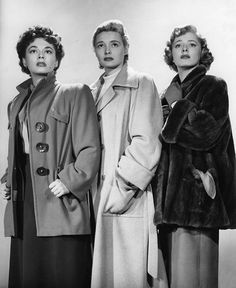 """Ruth Roman, Patricia Neal, and Eleanor Parker in a publicity shot for """"Three Secrets."""""""