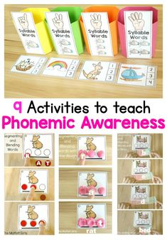 Phonemic Awareness is such an integral part to reading and writing. Unfortunately, many teachers skip over teaching this, but the truth is that it's just as important as learning phonics! Check out these 9 hands-on ways to help children learn to segment Emergent Literacy, Kindergarten Literacy, Early Literacy, Literacy Centers, Reading Centers, Learning Phonics, Phonics Activities, Teaching Reading, Guided Reading