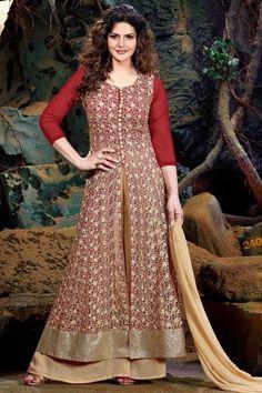 Zarin Khan Stylish Red Soft Net Trouser Suit Online http://www.andaazfashion.co.uk/salwar-kameez/trouser-suits