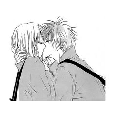#anime #blackandwhite #boy #couple #girl #kiss #love #manga ❤ liked on Polyvore featuring fillers - sketches and filler