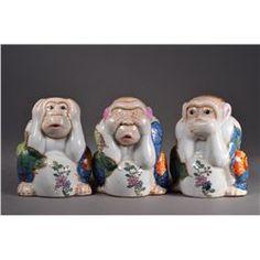 Chinese Porcelain Three Wise Monkeys Iron Red Mark