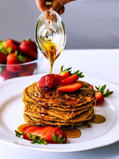 These Gluten Free Oatmeal Pancakes are crispy on the outside and like creamy oatmeal on the inside. I use Vega vanilla protein powder because I love the taste. The batter is oil free. Makes 10 - 12 pancakes. Served up with stra Dairy Free Breakfasts, Gluten Free Recipes For Breakfast, Dairy Free Recipes, Brunch Recipes, Brunch Ideas, Vegan Recipes, Sweets Recipes, Fall Recipes, Breakfast Ideas