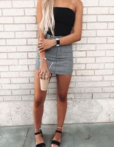 cute summer outfits 2020 + Spring Outfits - cute summer outfits for teens Cute Summer Outfits, Cute Casual Outfits, Spring Outfits, Casual Date Outfit Summer, Tumblr Summer Outfits, Hot Day Outfit, Cute College Outfits, Outfit Work, Autumn Outfits