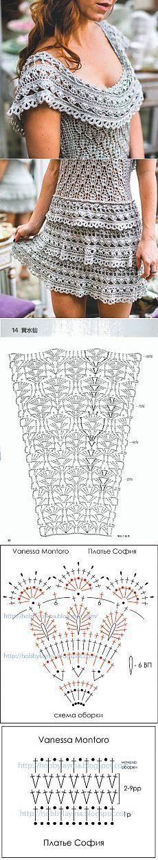 Vanessa Montoro crochet dress with diagram Gilet Crochet, Crochet Blouse, Crochet Lace, Crochet Stitches, Crochet Style, Crochet Skirt Pattern, Crochet Skirts, Crochet Clothes, Crochet Patterns