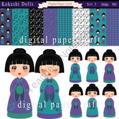 Kawaii Kokeshi Clipart Japanese Dolls and Papers -Set 3 from Digital PaperCraft on TeachersNotebook.com (16 pages)  - Kawaii Kokeshi Clipart Japanese Dolls and Papers -Set 3