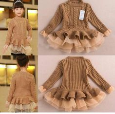 Diy Crafts - Princess pullover sweater dress with lace shrugs for Autumn Winter Comes in colors Coffee, Grey/blue ,Cream and RedSpecificsFabric Type Toddler Girl Outfits, Baby Girl Dresses, Baby Dress, Kids Outfits, Baby Girl Fashion, Toddler Fashion, Kids Fashion, Women's Fashion, Shrug For Dresses